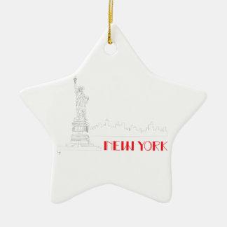 New-York, Statue-of-Liberty Cool Ceramic Star Ornament
