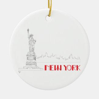 New-York, Statue-of-Liberty Cool Round Ceramic Ornament
