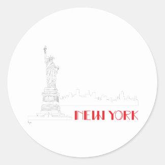 New-York, Statue-of-Liberty Cool Round Sticker