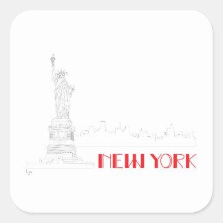 New-York, Statue-of-Liberty Cool Square Sticker