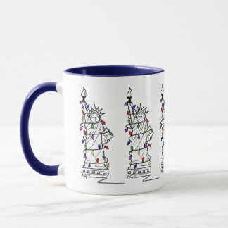 New York Statue of Liberty Holiday Lights NYC Xmas Mug