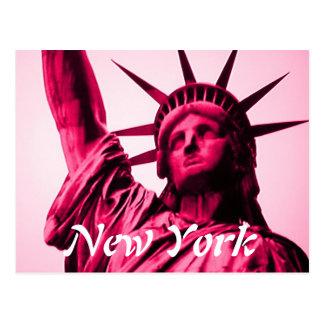New York statue of liberty pink postcard