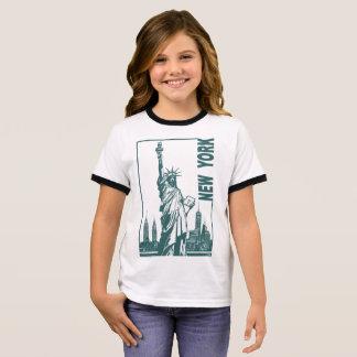 New York-Statue of Liberty Ringer T-Shirt