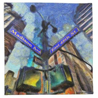 New York Street Sign Van Gogh Napkin