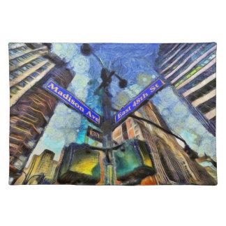 New York Street Sign Van Gogh Placemat