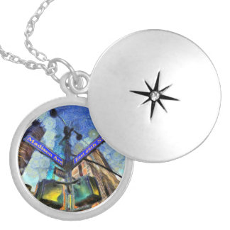 New York Street Sign Van Gogh Silver Plated Necklace