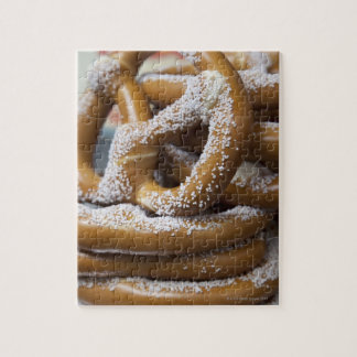New York street vendor's huge pretzels for sale Jigsaw Puzzle