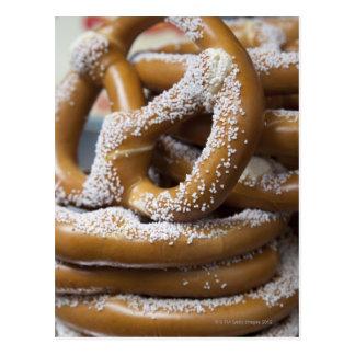 New York street vendor's huge pretzels for sale Postcard