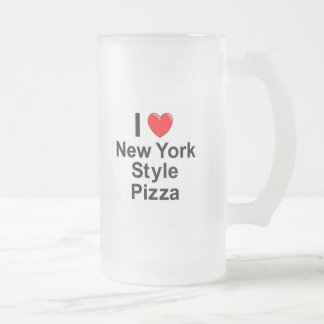 New York Style Pizza Frosted Glass Beer Mug