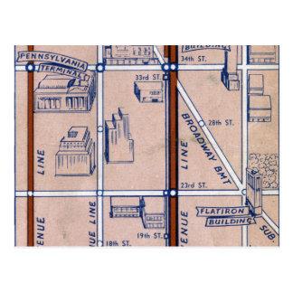 NEW YORK SUBWAY MAP, 1940 2 POSTCARD