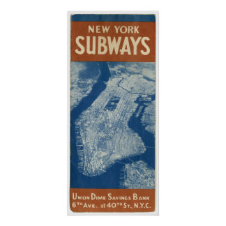 NEW YORK SUBWAY MAP 1940 POSTER
