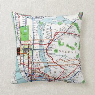 Dc Subway Map Pillow.New York Subway Map 1940 Throw Pillow