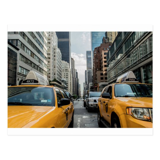 New York Taxi Cabs in the City Postcard