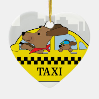 New York Taxi Dog Ceramic Heart Ornament