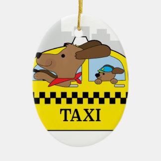 New York Taxi Dog Ceramic Oval Ornament