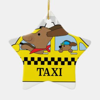 New York Taxi Dog Ceramic Star Ornament