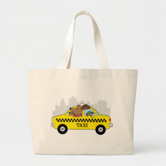 New York Taxi Dog Large Tote Bag