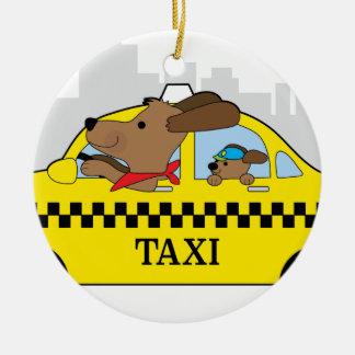 New York Taxi Dog Round Ceramic Ornament