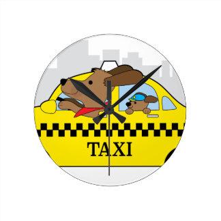 New York Taxi Dog Round Clock