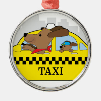 New York Taxi Dog Silver-Colored Round Ornament