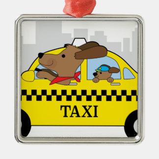 New York Taxi Dog Silver-Colored Square Ornament