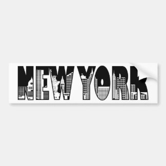 New York Text Outline with Landmarks Drawing Bumper Sticker