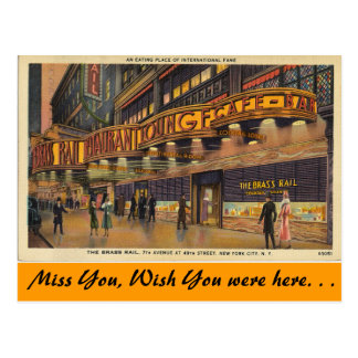 New York, The Brass Rail Cafe & Bar, New York City Postcard