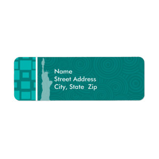New York; Turquoise Squares; Retro Return Address Label