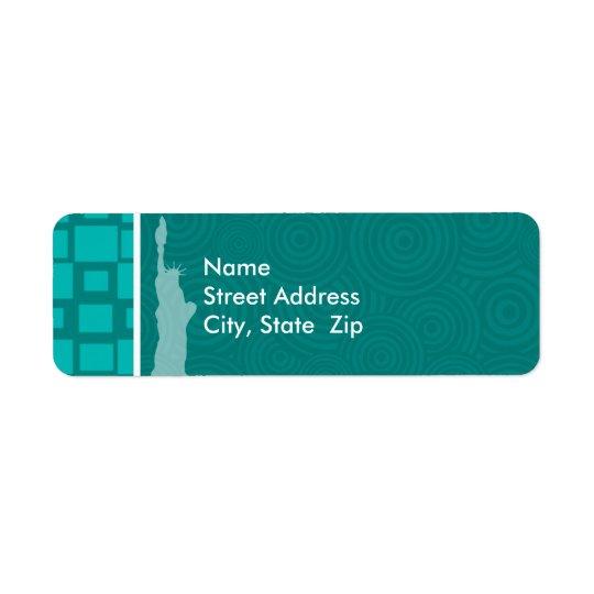 New York; Turquoise Squares; Retro Return Address Label