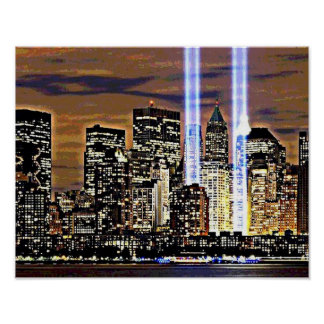 New York Twin Towers Light Beams Poster