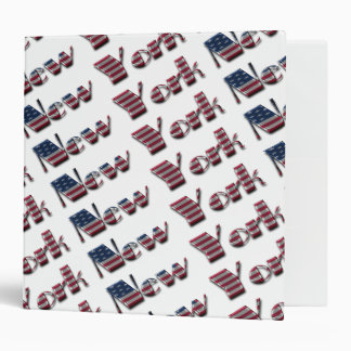 New York Typography City USA American Flag Colors 3 Ring Binders