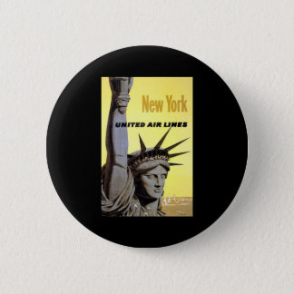 New York United Air Lines Statue Of Liberty 2 Inch Round Button