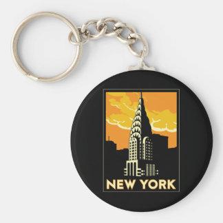 new york united states usa vintage retro travel basic round button keychain