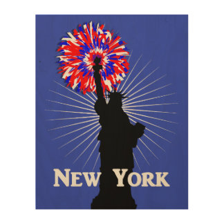 New York USA American Patriotic Statue Of Liberty Wood Canvases