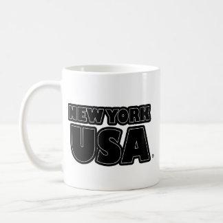 New York USA Black-Words Mug