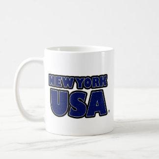 New York USA Blue-Words Mug