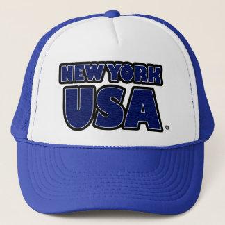 New York USA Blue Words Trucker Hat