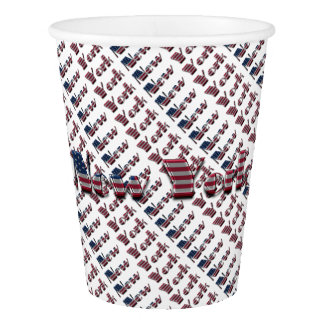 New York USA Country Flag Typography Paper Cup