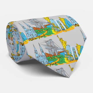 New York, USA Famous City Pattern Necktie