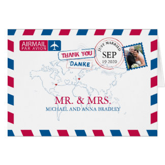 NEW YORK USA & GERMANY Airmail Wedding Thank You Card