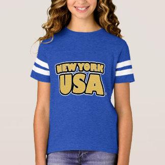 New York USA Gold-Worded Kids T-Shirt