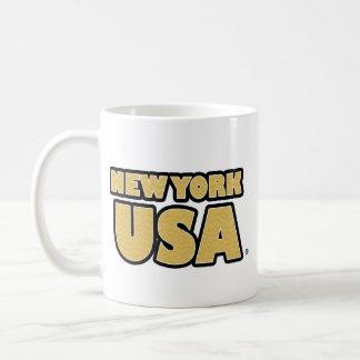 New York USA Gold-Words Mug