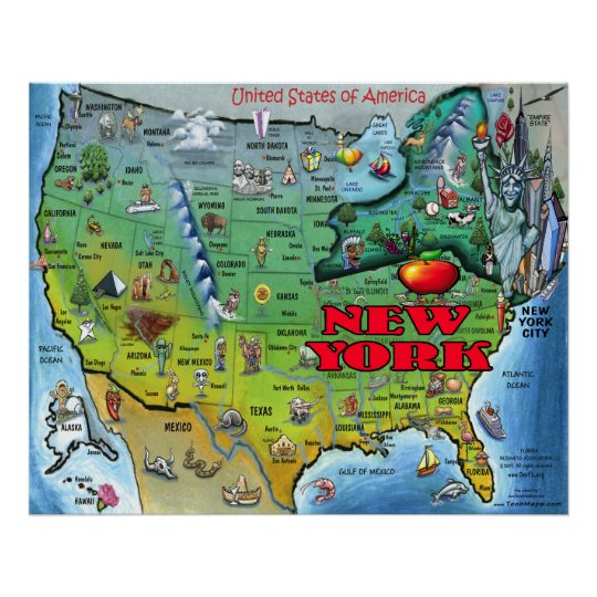 New York USA Map Poster