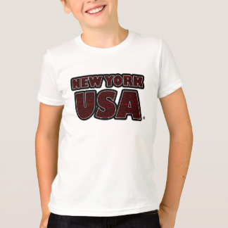 New York USA Red-Worded Kids T-Shirt