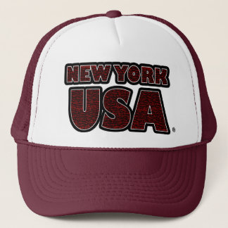 New York USA Red Words Trucker Hat