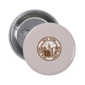 New York, USA Travel Stamp 2 Inch Round Button