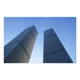 New York, USA. View up at twin towers of the Art Photo