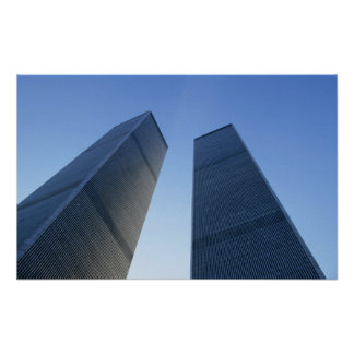 New York, USA. View up at twin towers of the Poster