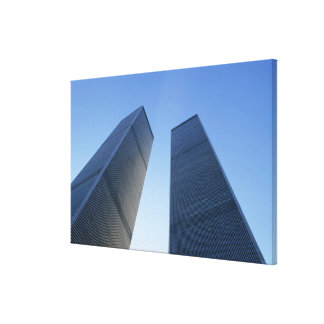 New York, USA. View up at twin towers of the Stretched Canvas Prints