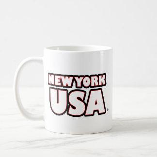 New York USA White-Words Mug